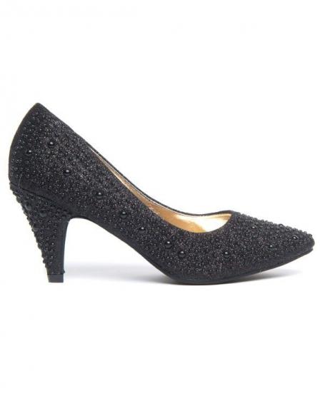 Chaussures à talons Ideal à strass noirs et semelle or