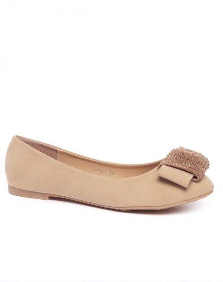 Chaussures femme Alicia: Ballerines effet noeud à strass beiges