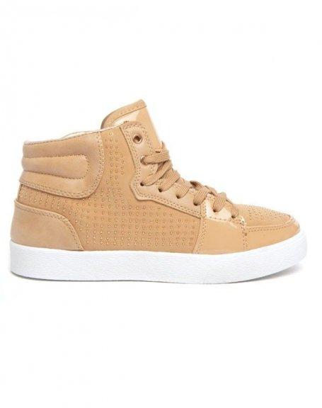 Chaussures femme Alicia: Basket à mini clous beige