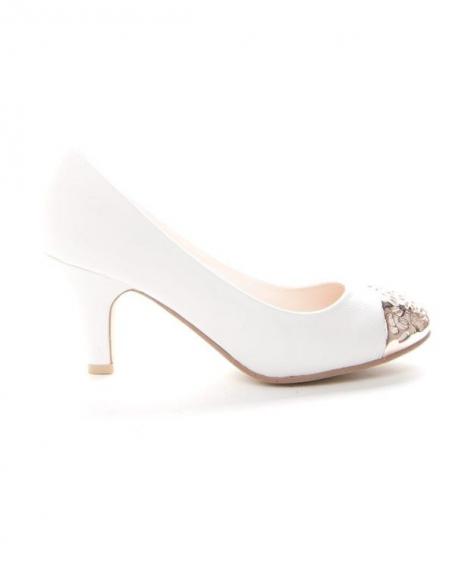 Chaussures femme Alicia: Escarpin bout doré blanc