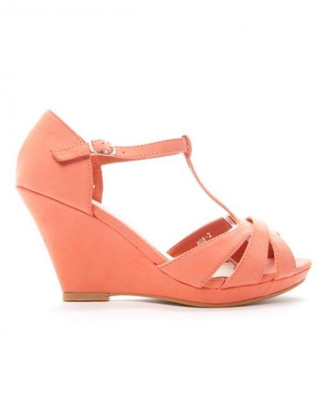 312962fa237 Chaussures femme Alicia  Sandale compensée - corail