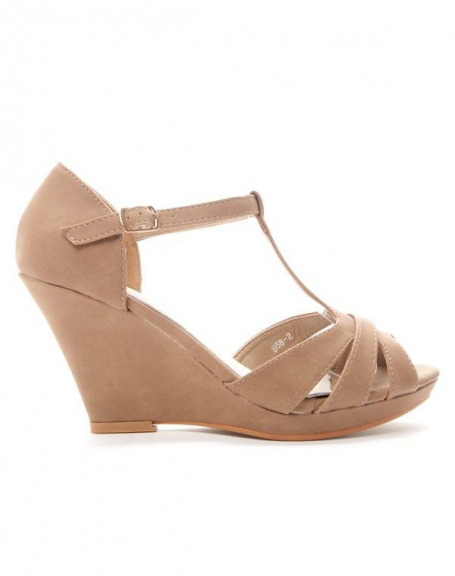 Chaussures femme Alicia: Sandale compensée - kaki