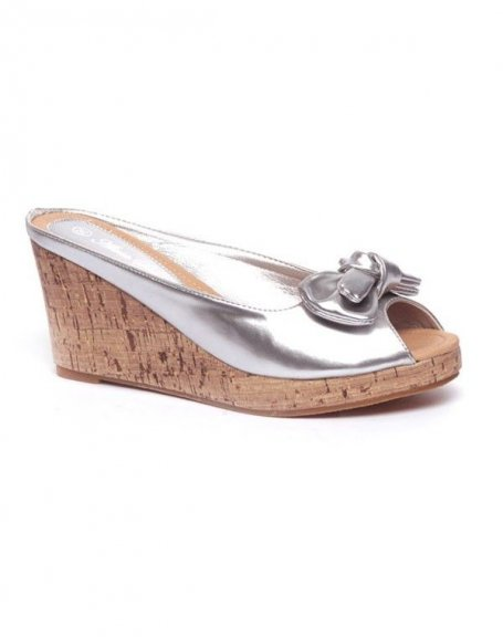Chaussures femme Alicia: Sandales vernie, compensé lièges argent