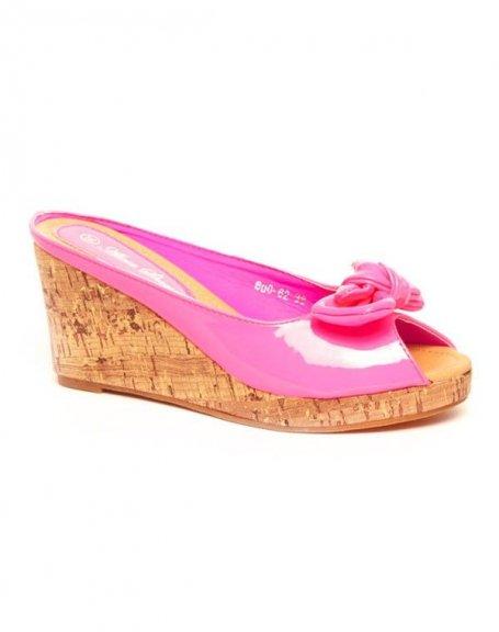 Chaussures femme Alicia: Sandales vernie, compensé lièges fuchsia