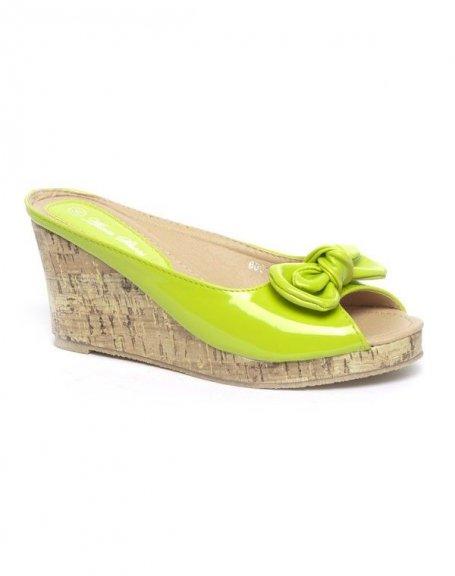Chaussures femme Alicia: Sandales vernie, compensé lièges vertes