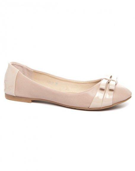 Chaussures femme Alicia Shoes: Ballerine bi matière beige