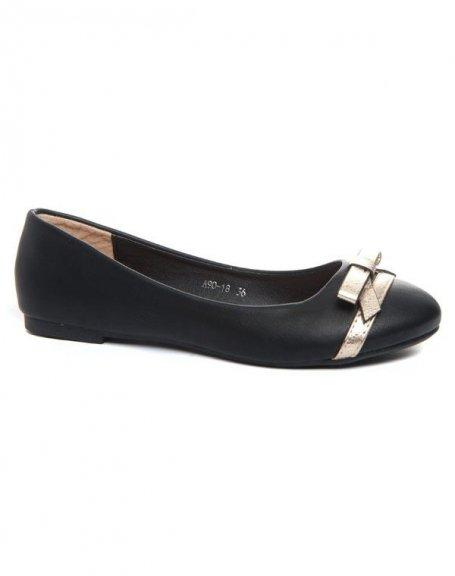 Chaussures femme Alicia Shoes: Ballerines noires noeud doré