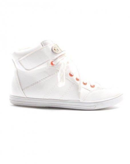 Chaussures femme Alicia Shoes: Basket mi montante - blanc