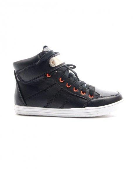 Chaussures femme Alicia Shoes: Basket mi montante - noir