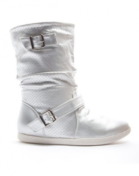 Chaussures femme Alicia Shoes: Botte style basket - argent