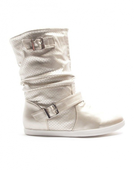 Chaussures femme Alicia Shoes: Botte style basket - or