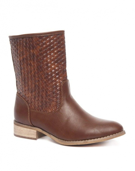 Chaussures femme Alicia Shoes: Botte style tressé chocolat