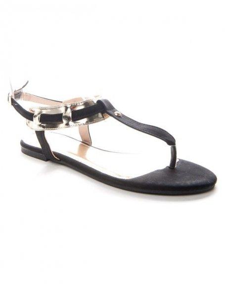 Chaussures femme Alicia: Tong à lanière dorée - noir