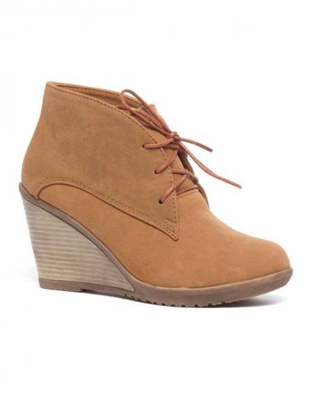 Chaussures femme Bellucci: Derbies compensés camels