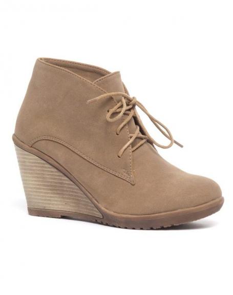 Chaussures femme Bellucci: Derbies compensés kakis
