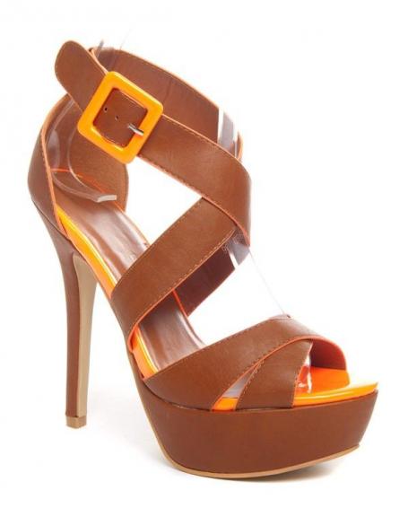 Chaussures femme Bellucci: Escarpin ouvert camel/orange