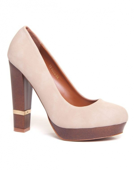 0f867e0cf78 Chaussures femme Bellucci  Escarpins beiges à talons épais