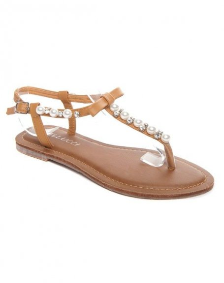 Femme À BellucciSandale Chaussures Perle Camel Y76yfvbg