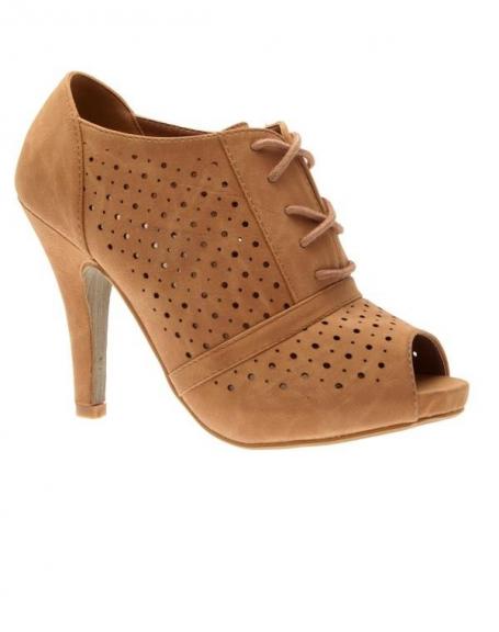 Chaussures femme Bestelle: Escarpin camel à bout ouvert