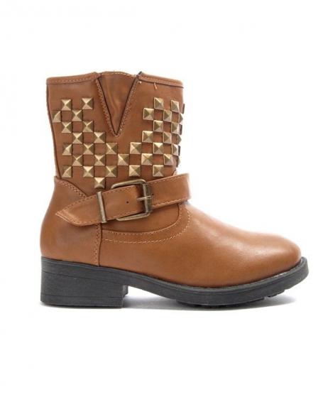 Chaussures femme Bo'aime: Bottine clouté - camel