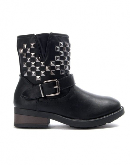 Chaussures femme Bo'aime: Bottine clouté - noir