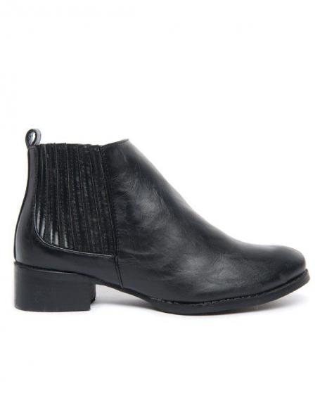 Chaussures femme: Bottines noir avec petites talonnettes