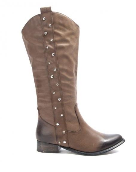 Chaussures femme Bruna Rossi: Botte haute avec clou - marron