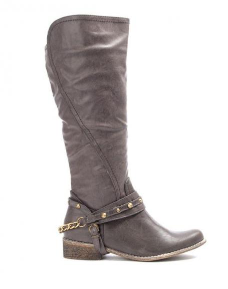 Chaussures femme Bruna Rossi: Botte haute avec ferrures - gris