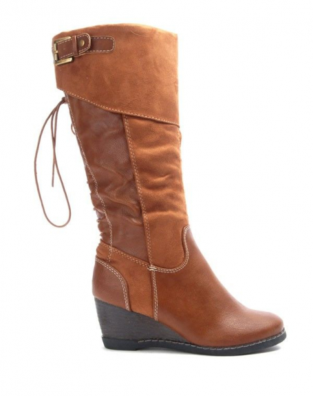 Chaussures femme Bruna Rossi: Bottes compensées - camel