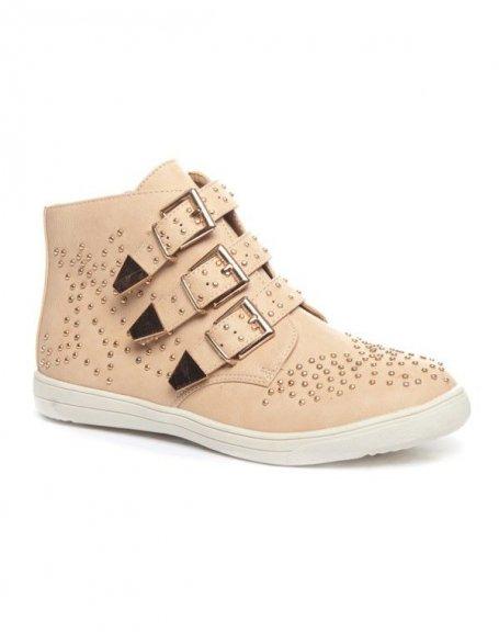 Chaussures femme Cocoperla: Basket cloutée beige