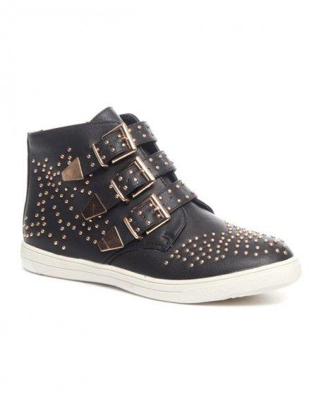 Chaussures femme Cocoperla: Basket cloutée noire