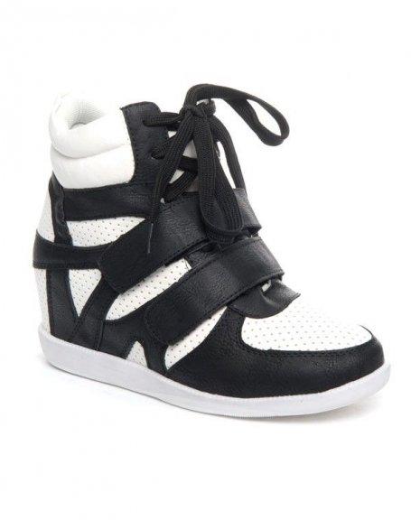 93e77e42c68a24 Chaussures femme Cocoperla: Basket compensée montante noire