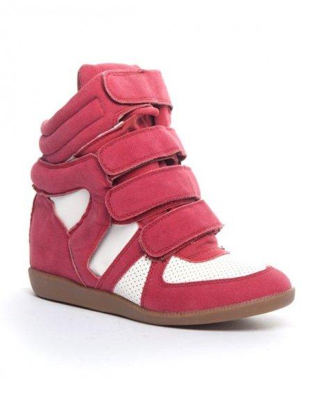 Chaussures femme Cocoperla: Basket compensée montante rouge (bordeaux)