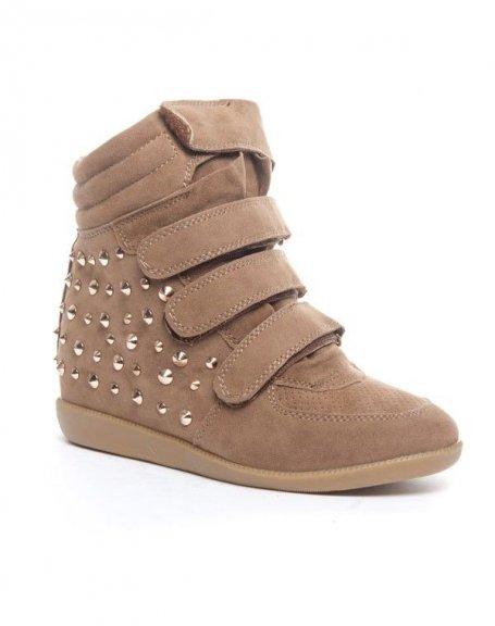 Chaussures femme Cocoperla: Basket compensée  montante taupe