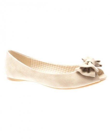 Chaussures femme Farasion: Ballerines ouvertes beiges
