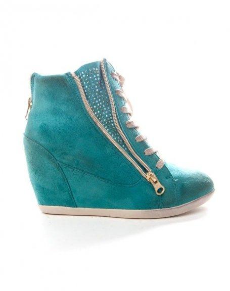chaussures femme findlay basket compense strass bleu. Black Bedroom Furniture Sets. Home Design Ideas