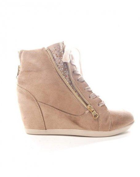 Compensée Kaki Femme FindlayBasket Chaussures À Strass DHW9e2IEY