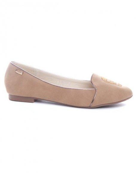Chaussures femme Ideal: Ballerine kaki (beige)