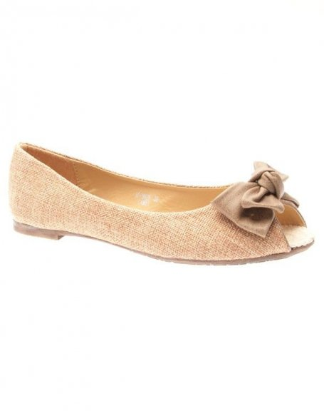 Chaussures femme Ideal: Ballerines en toile camel