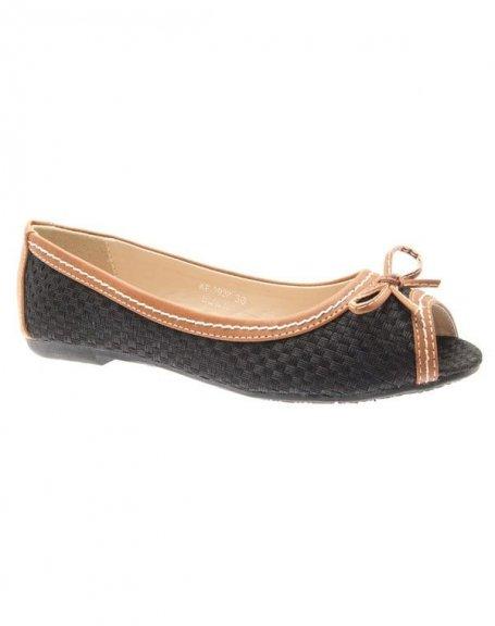Chaussures femme Ideal: Ballerines en toile noires