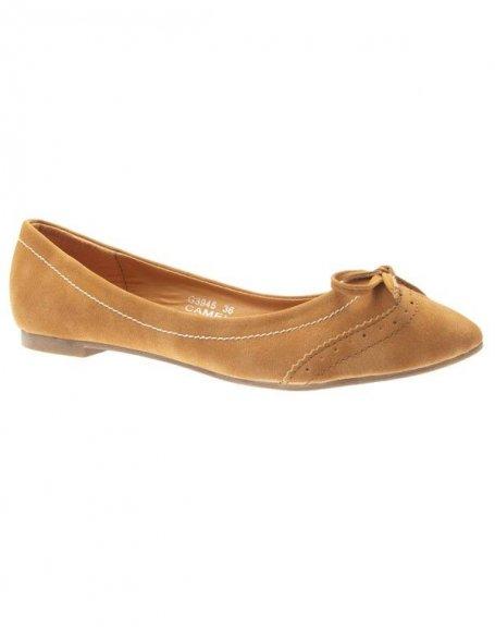 Chaussures femme Ideal: Ballerines pas cher camel