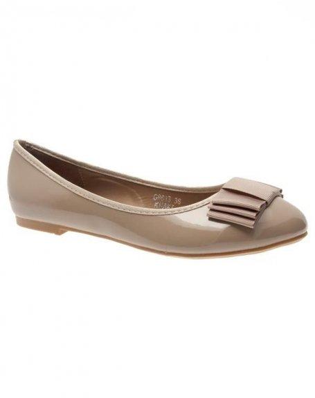 Chaussures femme Ideal: Ballerines vernis kaki