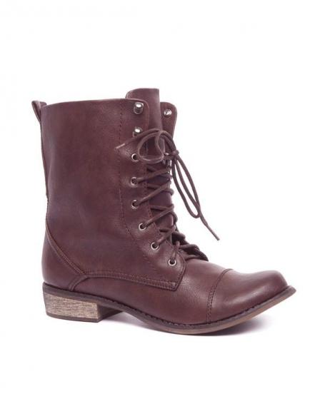 Chaussures femme Ideal: Bottes à lacets marron foncé