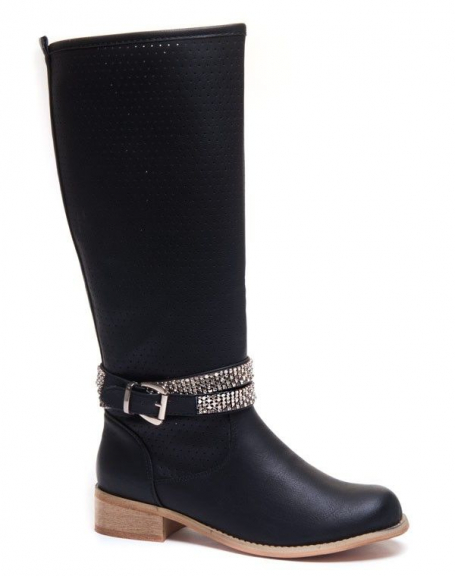 Chaussures femme Ideal: Bottes noires avec strass