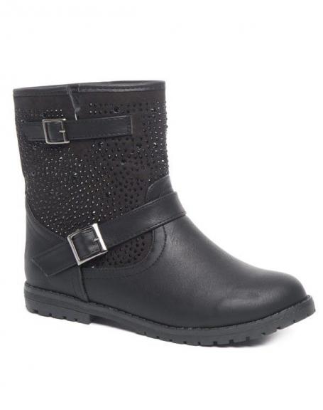 Chaussures femme Ideal: Bottes strassées noires