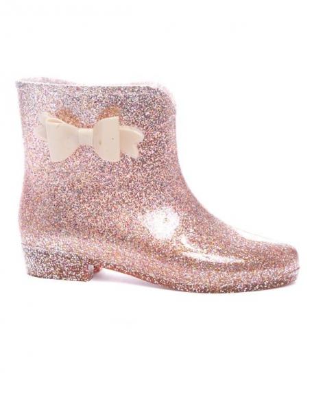 Chaussures femme Ideal: Bottine caoutchouc beige pailleté
