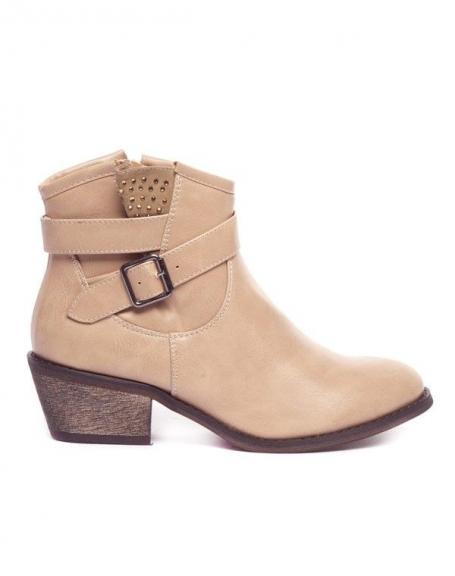 Chaussures femme Ideal: Bottine strassée beige