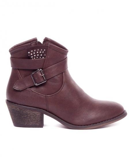 Chaussures femme Ideal: Bottine strassée marron
