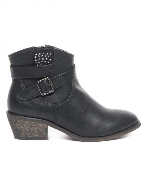 Chaussures femme Ideal: Bottine strassée noire