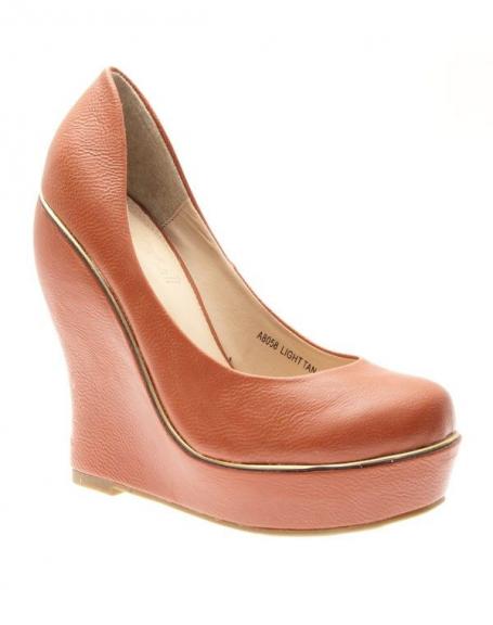 Chaussures femme Ideal: Escarpins compensés Camel